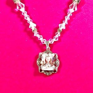 Jewelry - Silver Crystal Necklace w.vntg Pendant